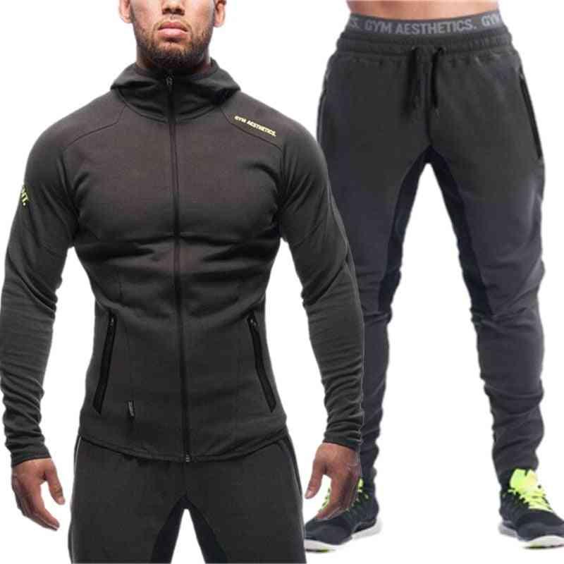Men's Sports Tracksuit Zipper Set, Sweatshirt Hoodies & Pants