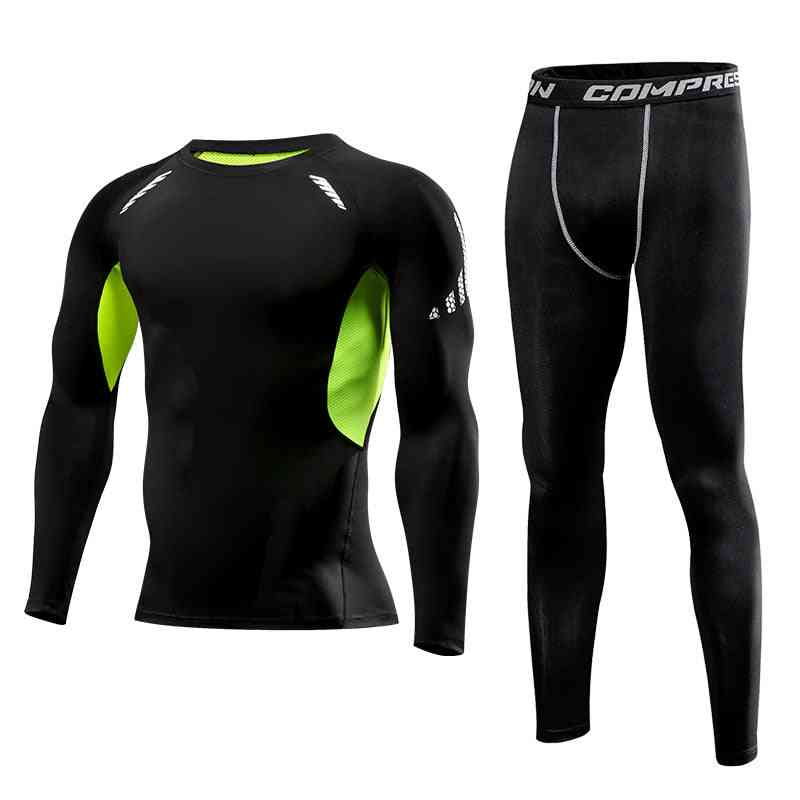 Men Clothing Sportswear Gym Fitness Compression Suits Running Set, Sport Jogging Tight