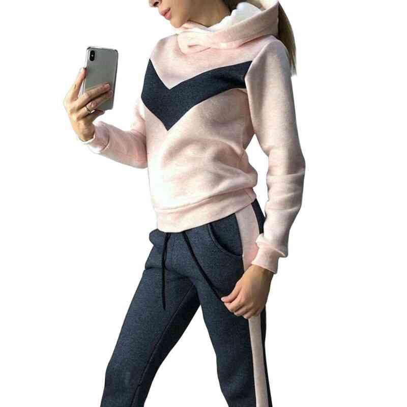 Winter Women Sports Suits, Plus Velvet Hoodies Sweatshirts & Pants Running Set