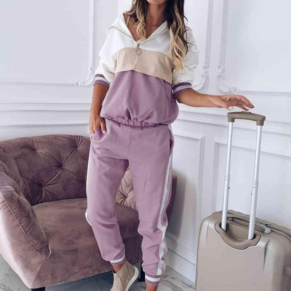 Women Hoodies Patchwork Sportswear Sets, Long Sleeve Sweatshirt & Pant