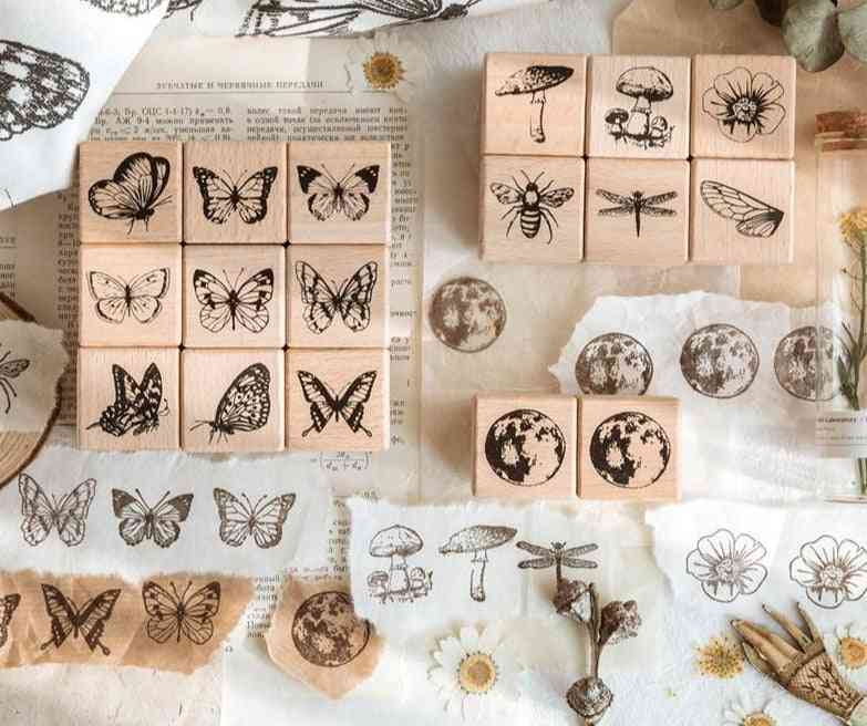 Vintage Forest Herbarium Series Stamps, Creative Butterfly Plant