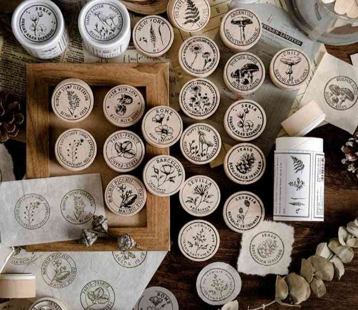 Vintage Collection Of Plant Collection Stamp Diy Craft Wooden Rubber Round Stamps