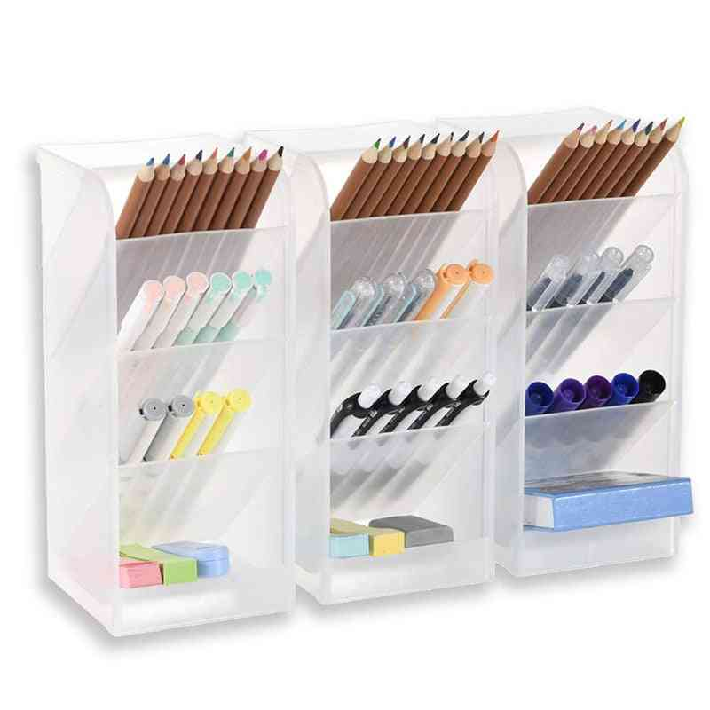 Translucent Desk Organizer, Pen Storage Rack For Office/school/home