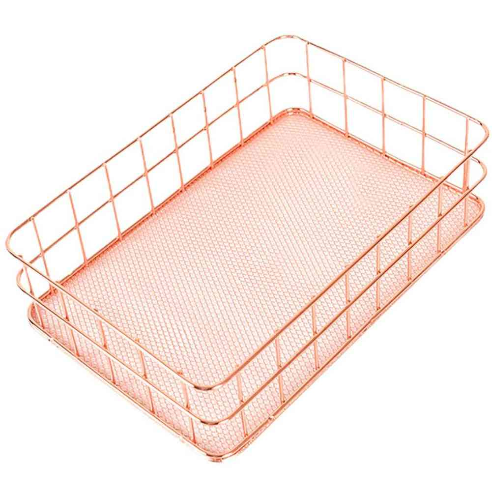 Nordic Style, Electroplating Glossy Metal-storage Basket For Office/home