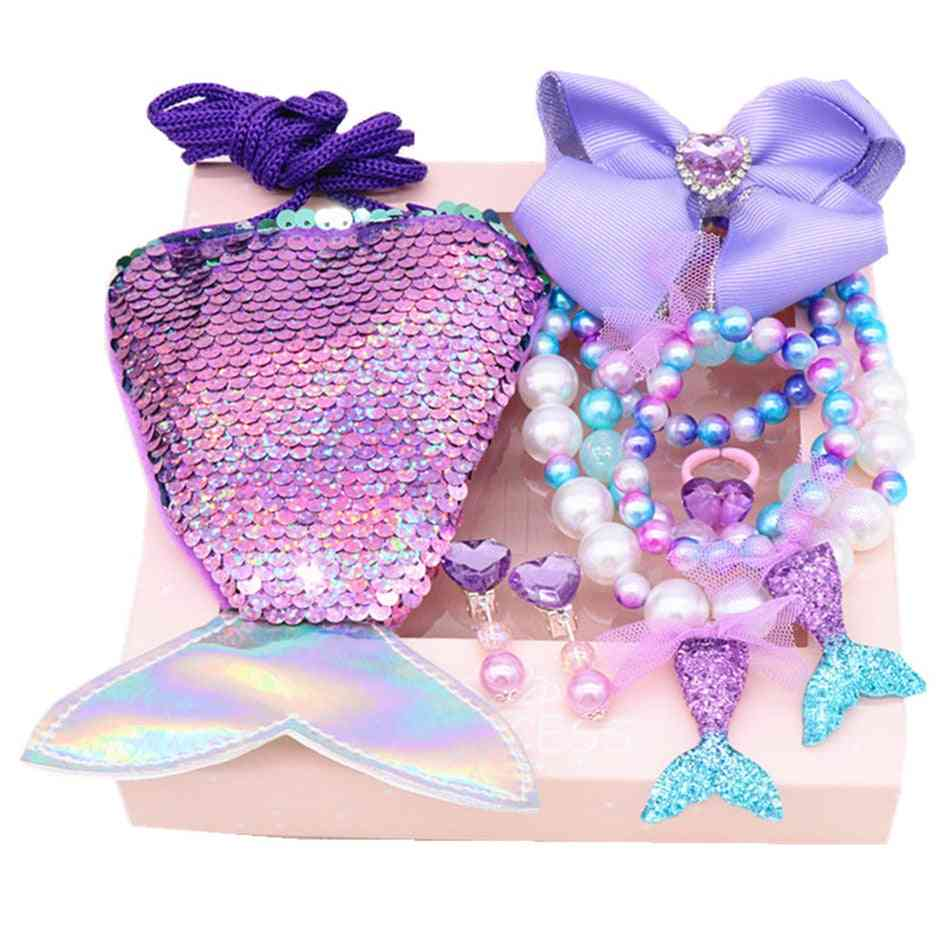 Mermaid Jewelry Set, Sequins Purse Necklace Bracelet Bow Hair Clip Shell Earring