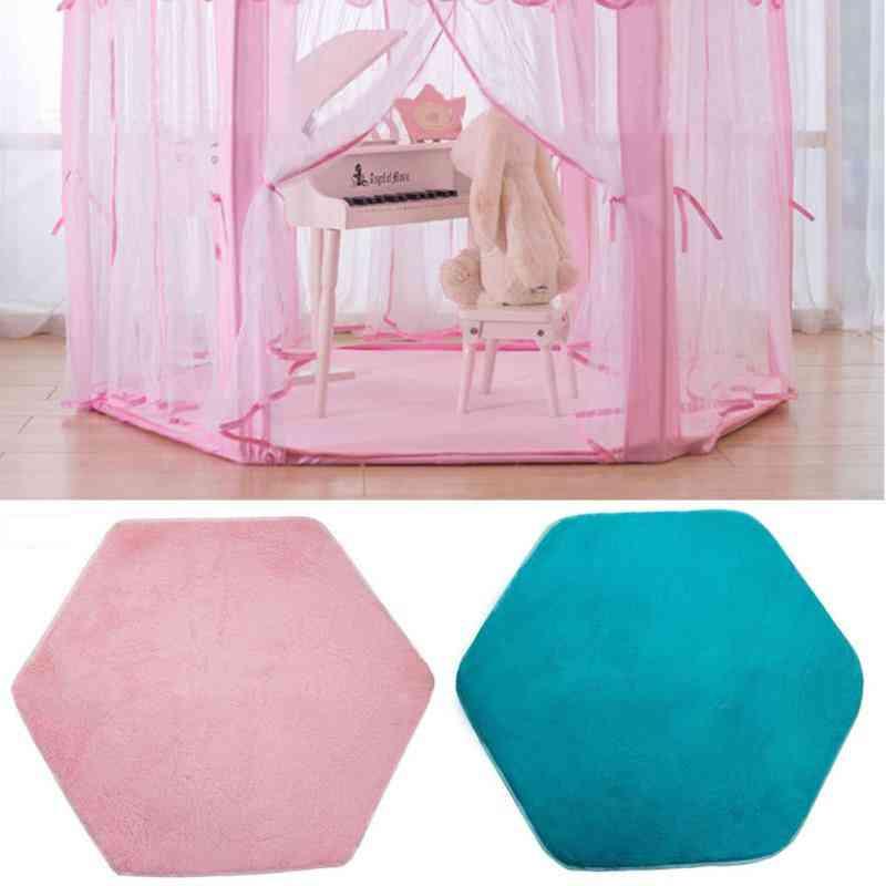 Tent Hexagon Princess Castle Playhouse Pad Non-slip Baby Play Mat Plush Rug Seat, Cushion Blanket