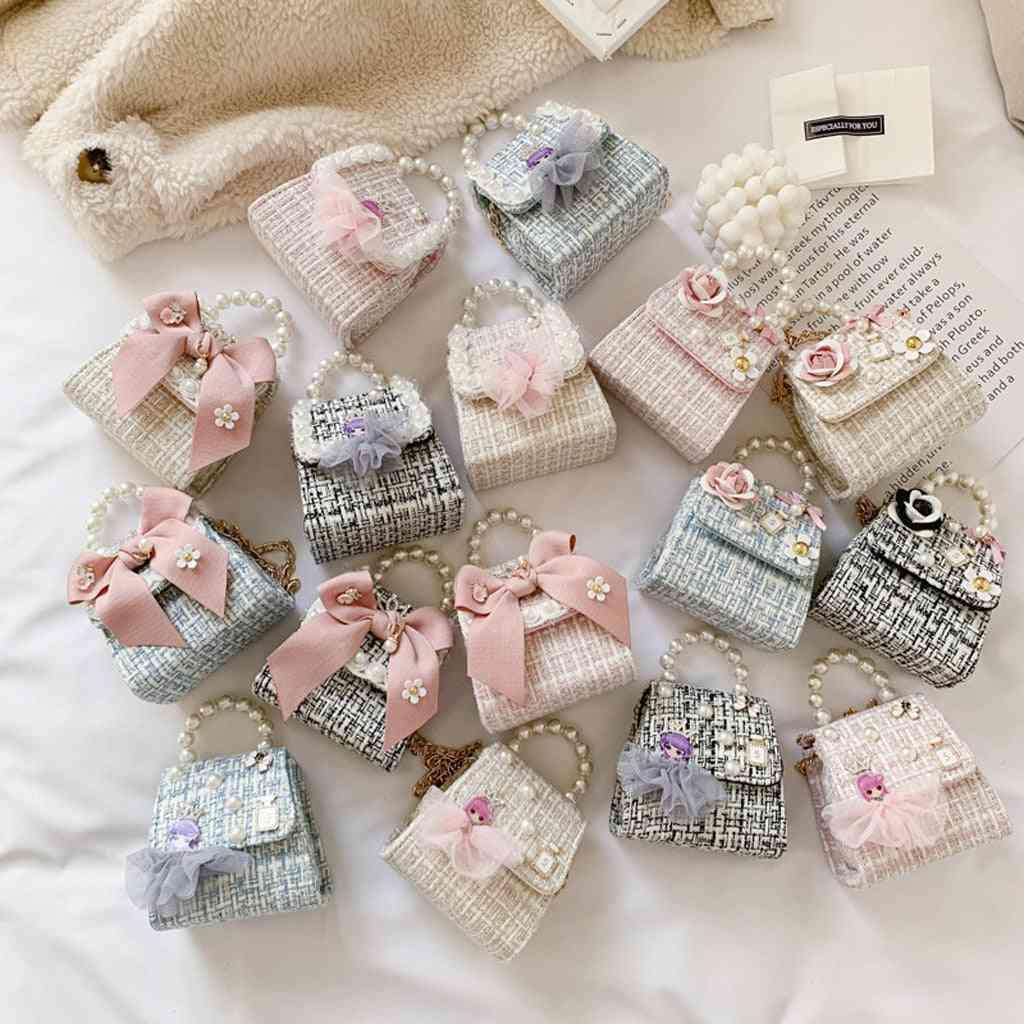 Baby Messenger Pearl Chain Bags, Bowknot Hand Shoulder Crossbody Bag