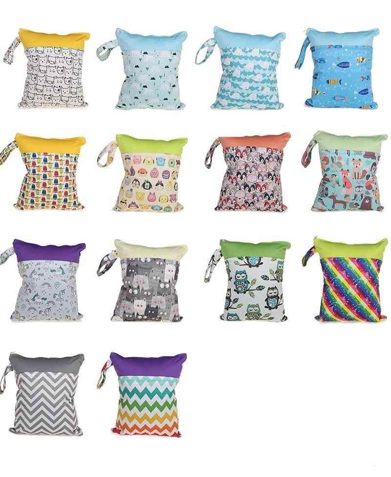 Waterproof Double Zipper, Baby Diaper Storage Bags