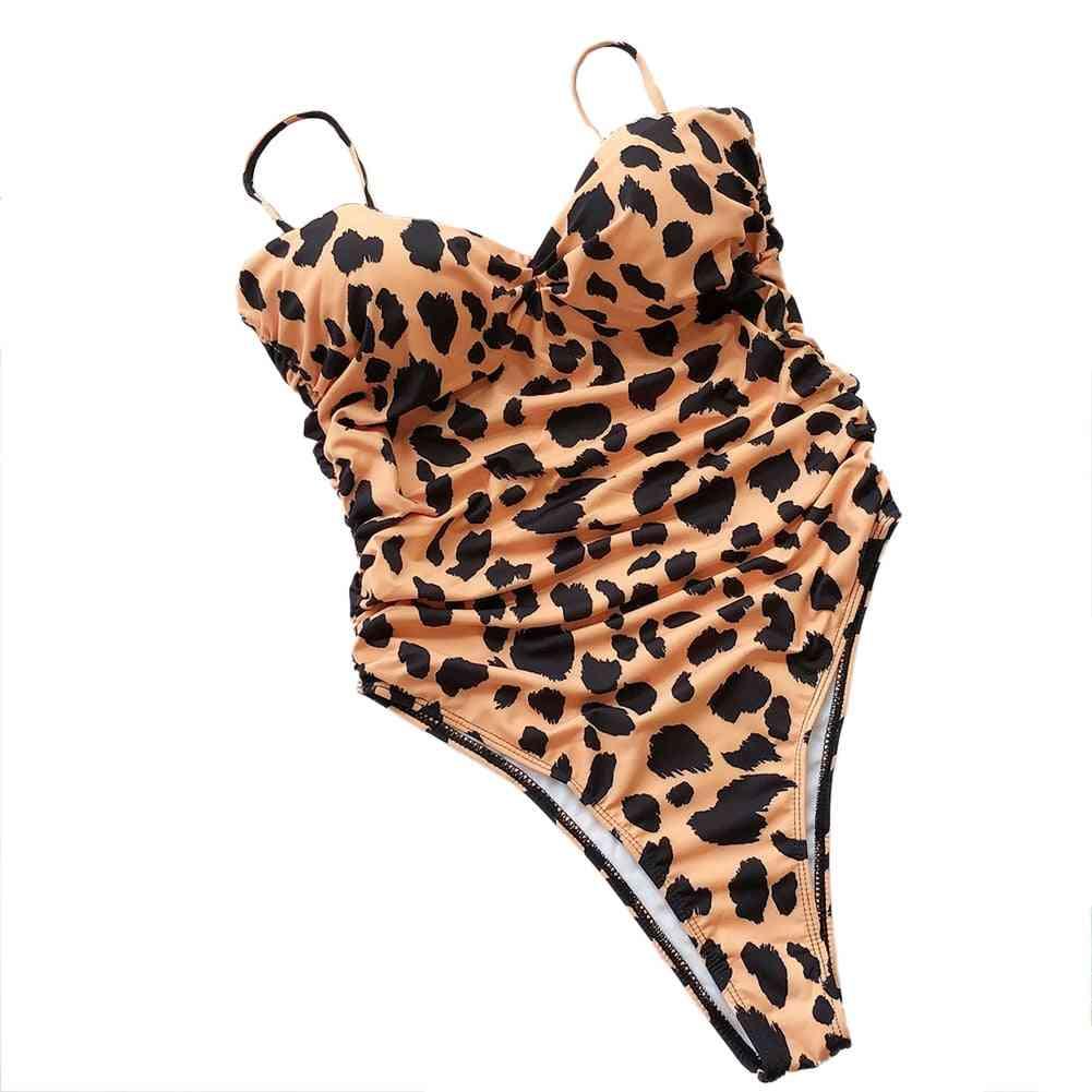 Women Leopard Print Swimsuit Padded Push-up Bikini Set