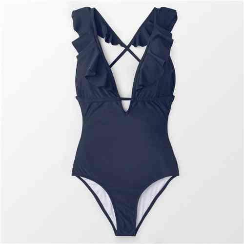 Ruffle V-neck Design Swimsuit