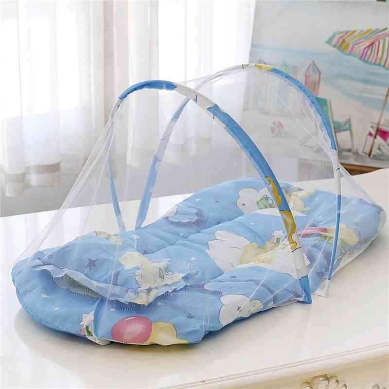 Portable Foldable Mosquito Net Polyester Newborn Sleep Travel Bed, Cotton Baby Pillow Mattress