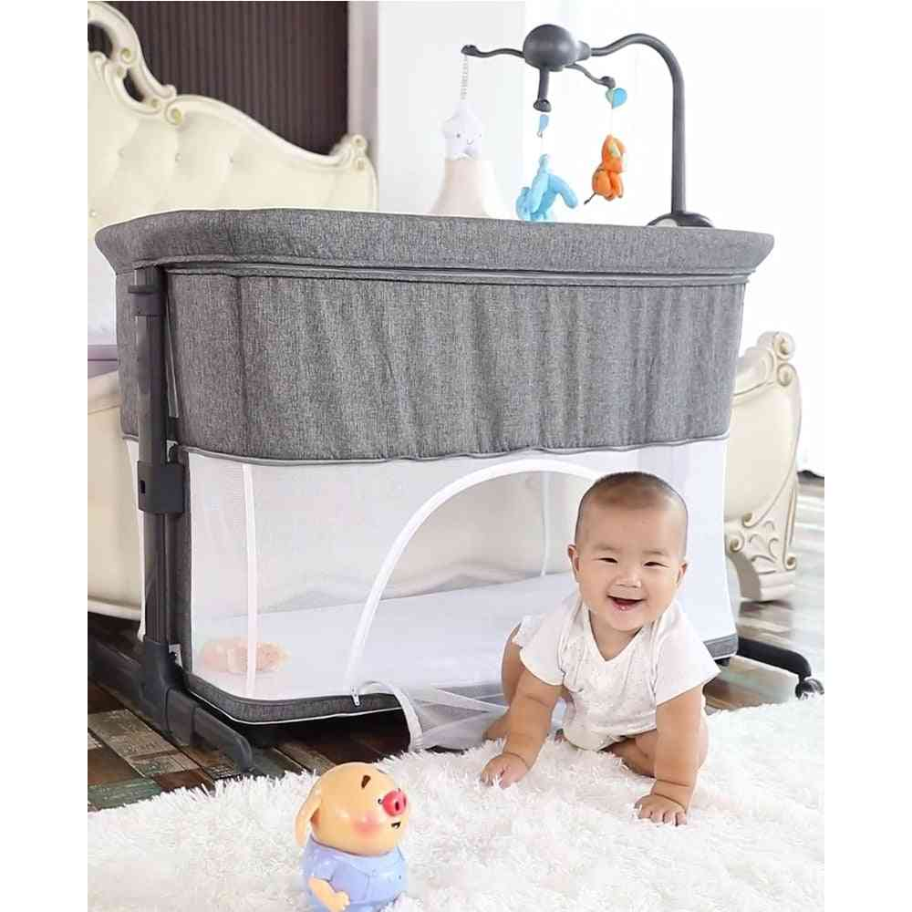 Newborn Solid Wood Bedside Crib, Portable Splicable With Mosquito Net