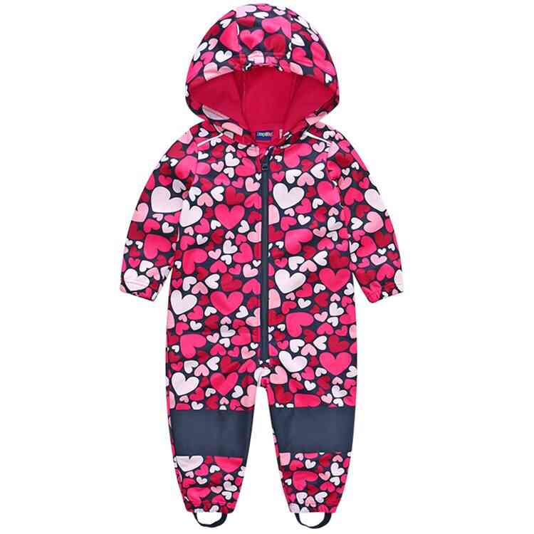 Boys Softshell Jumpsuit, Overalls With Fleece Lining, Windproof & Waterproof