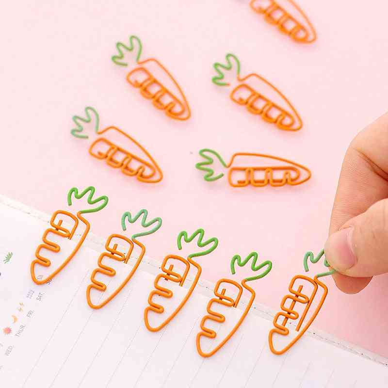 Creative Kawaii Carrot Shaped Metal Paper Clip, Bookmark Stationery