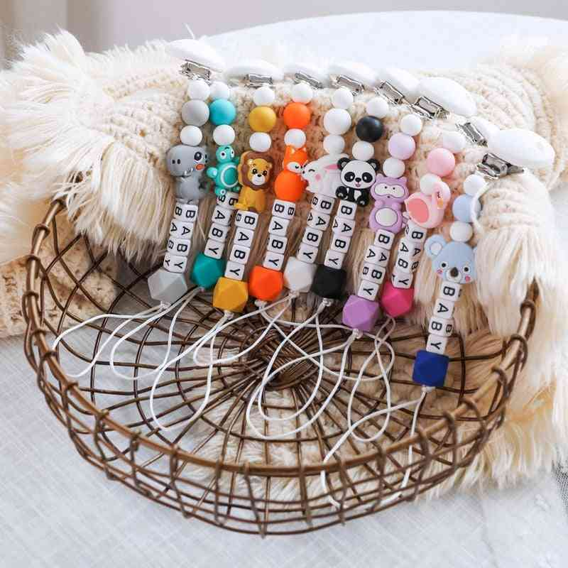 Cartoon Animal Design Cute Pacifier Clip Chain With Silicone Beads
