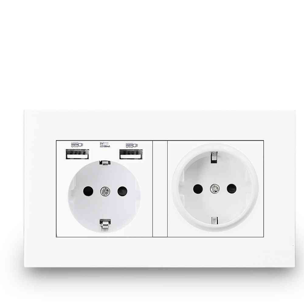 16a Usb Power Outlet-double Frame Wall Socket
