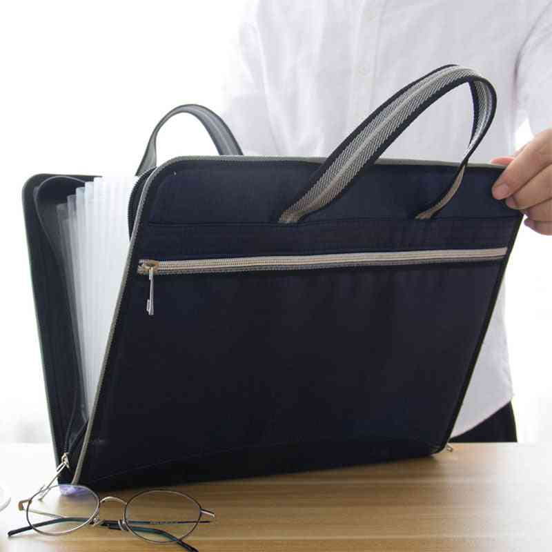 Office Canvas & Leather Folder Expanding Wallet Document Organizer File Large Capacity Business
