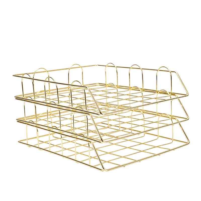 Metal Document Tray Office Organizer Layered Paper Storage Desk Accessories Rack Cover
