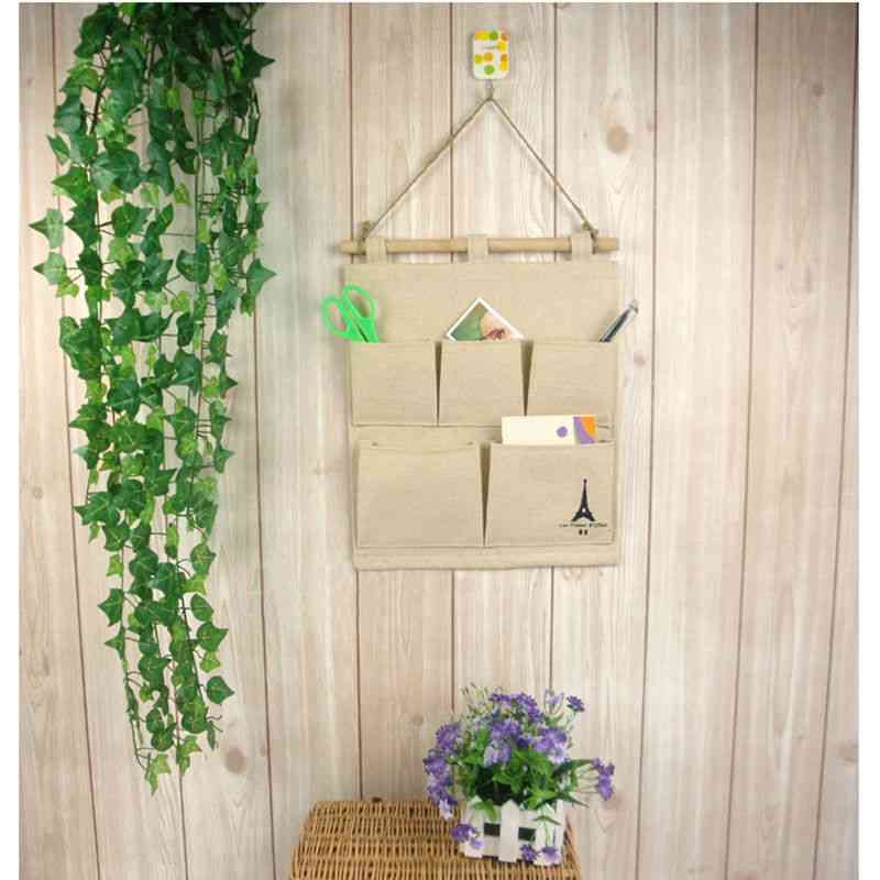 5 Pocket Cotton Wall Hanging Bags