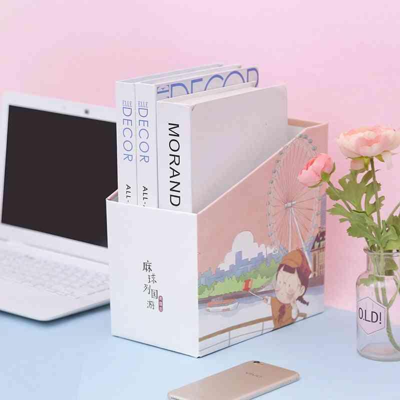 Diy Paper Receiving Box File Tray, Magazine Organizer Bookshelve Receiving Frame