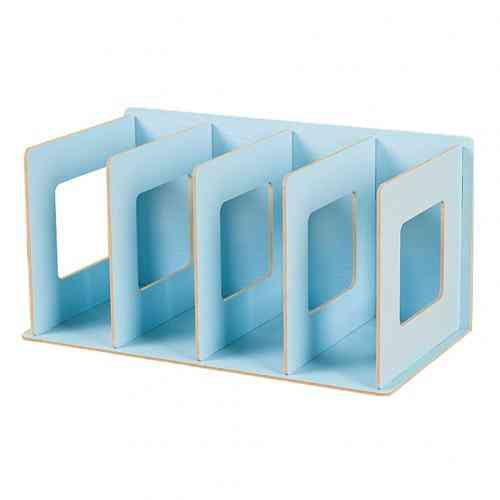 Simple Multi-tier Bookshelf, 4 Grids Original Storage Shelf For Books Sundries