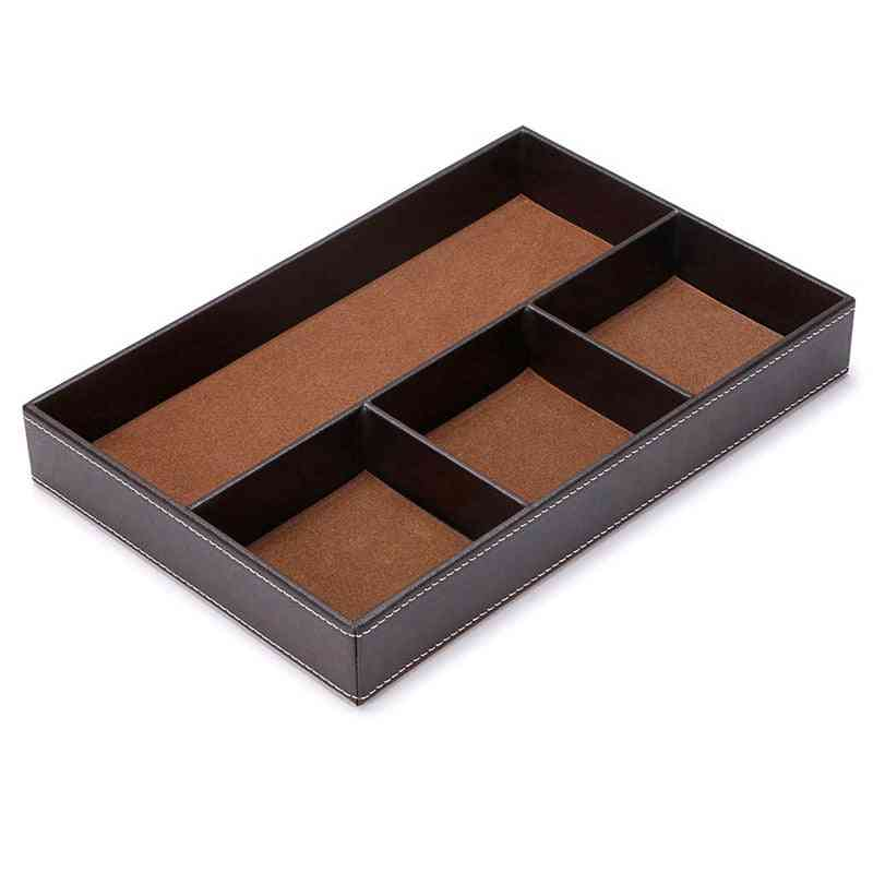 Pu Leather, 4 Slots Desk Drawer Organizer For Office