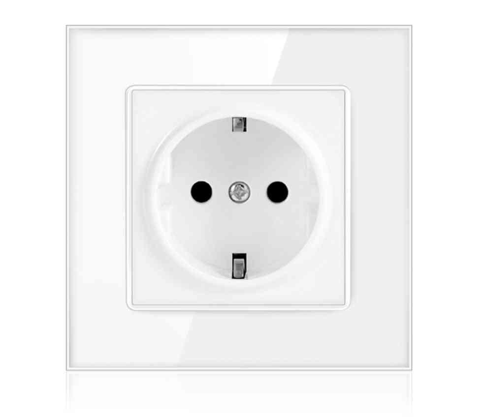 Power Socket,16a Eu Standard Electrical Outlet Crystal Glass Panel