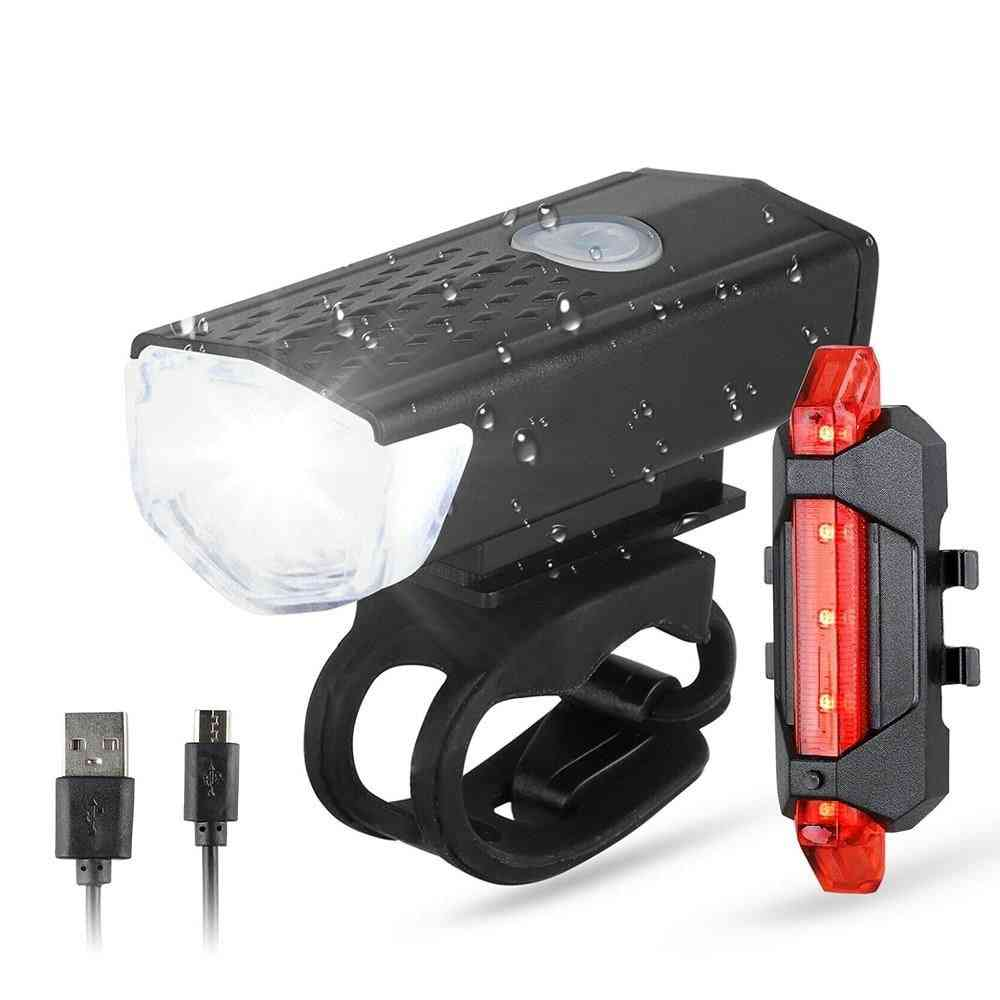Bike / Bicycle Light Usb Led Rechargeable Set, Front Headlight Lamp, Flashlight