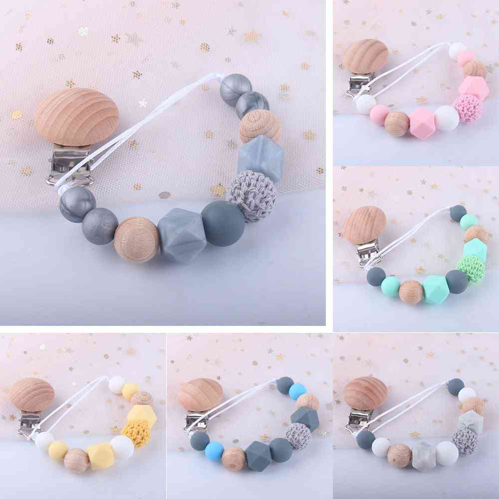Baby Silicone Teething Beads Paci Holder Soothie Clips Teether Toy