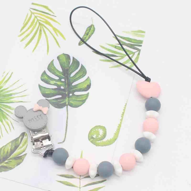 Silicone Round Beads And Star Pacifier Clip Chain Strap