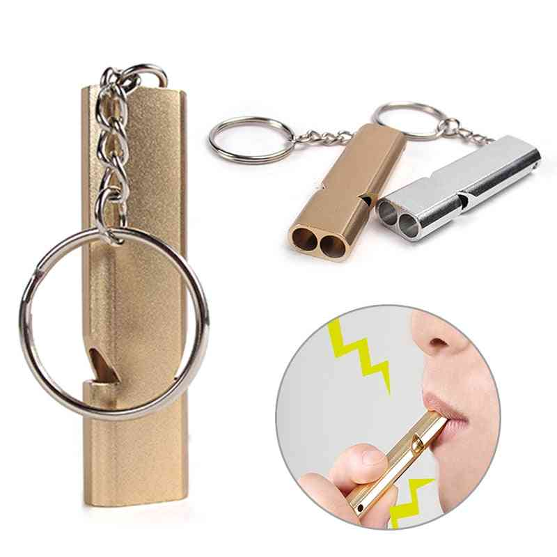 Aluminum Alloy Outdoor Emergency Survival Whistle Keychain
