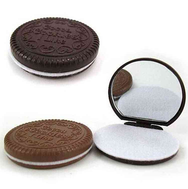 Cute Chocolate Cookie Shaped, Small Mirror With Comb Makeup Tool