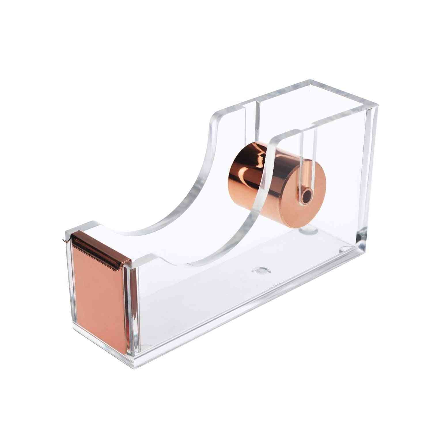 Square Shaped, Acrylic Tape Dispenser With Cutter