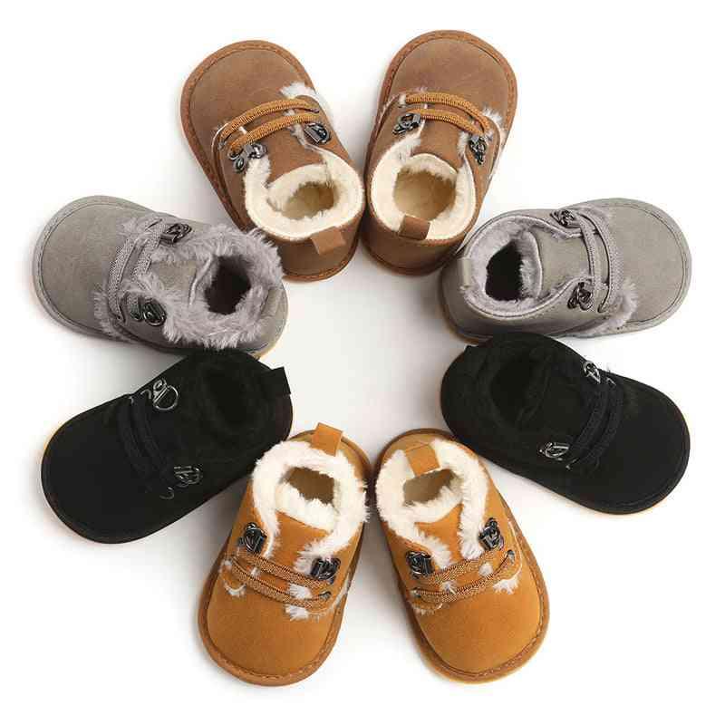 Newborn Baby Booties Winter Warm Fur Lining Non-slip Rubber Sole Boots Infant Prewalkers