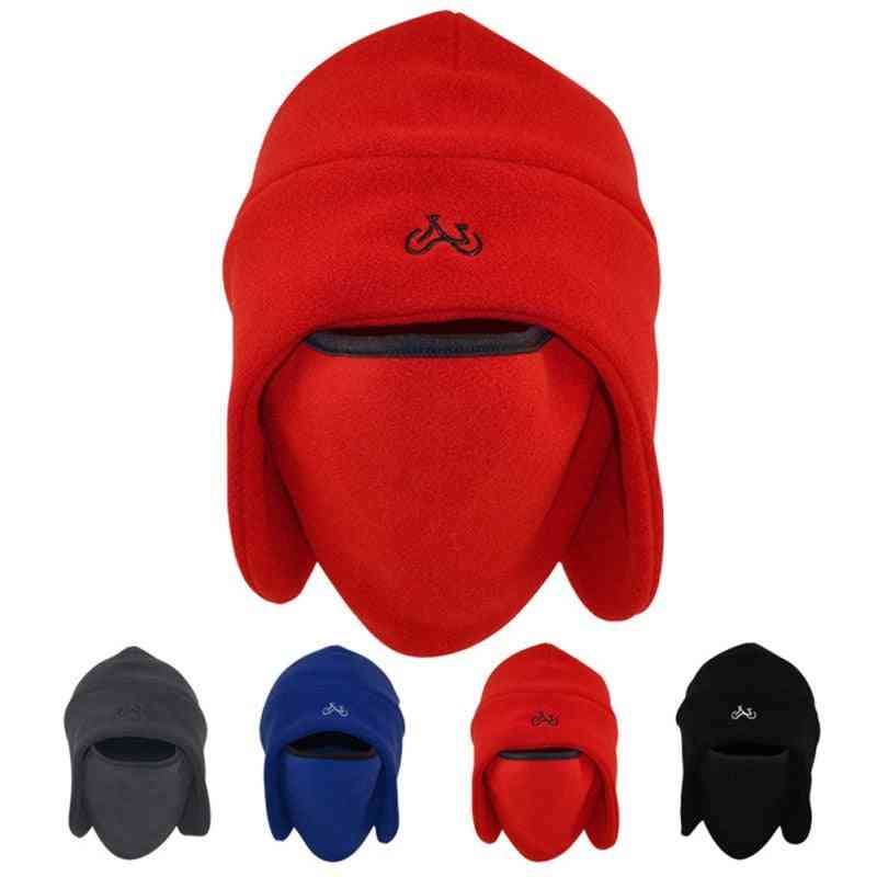 Hiking & Camping Thermal Fleece Hat, Hooded Neck Warmer Winter Sports Face Mask