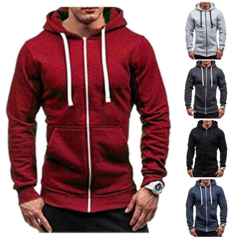 New Thick Hooded, Tee Slim Zip Mens Long Sleeve Muscle Warm Zip-up Hoodie Fit Sweatshirt Gym