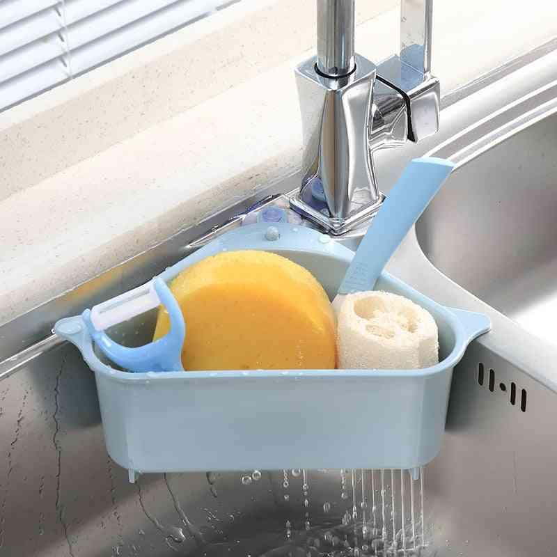 Kitchen Sink Mounted Triangular Strainer For Vegetables, Fruite, Sponge Holder, Storage Rack