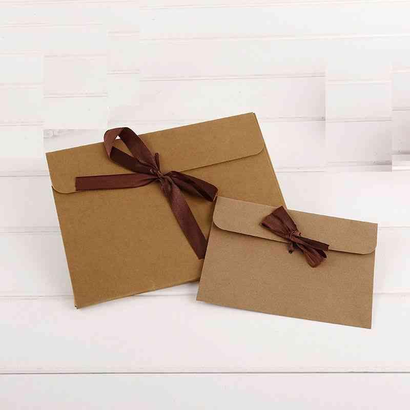 100pcs Craft Paper Envelopes And Ribbon