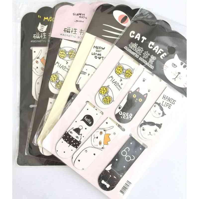 Cat & Cactus Magnetic Bookmarks Set