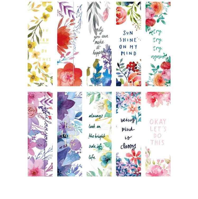 30pcs/box Beautiful Flowers/green Plants/best Wishes Pattern Bookmarks