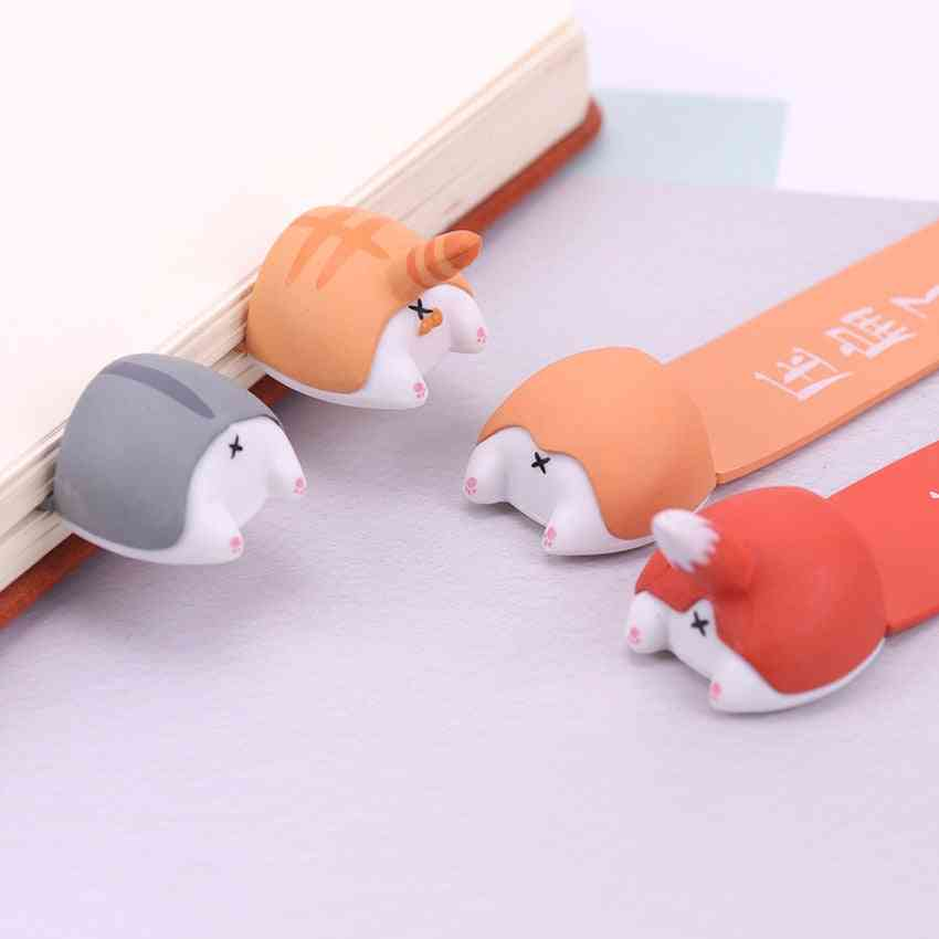 Pvc Cute Kawaii Dog, Cat, Hamster & Fox Ass Bookmark For Book Markers Stationery