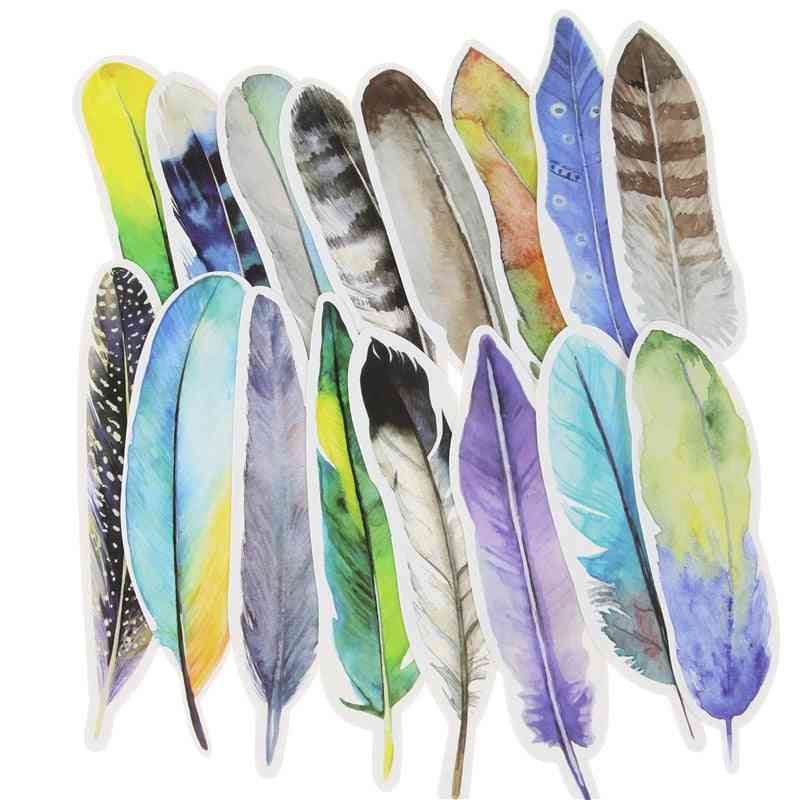 Colorful Feather Shaped, Paper Bookmarks