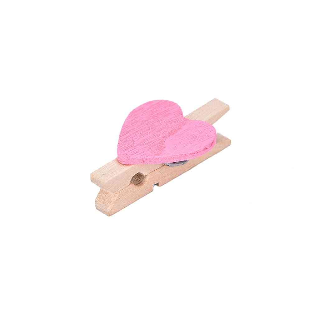 Mini Heart Wooden Clothespin Photo Paper Clips, Peg Pin Craft Postcard Clip