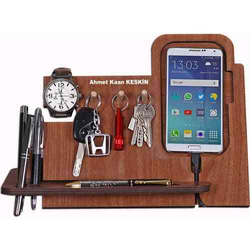 Wooden Phone Charger Stand-table Organizer