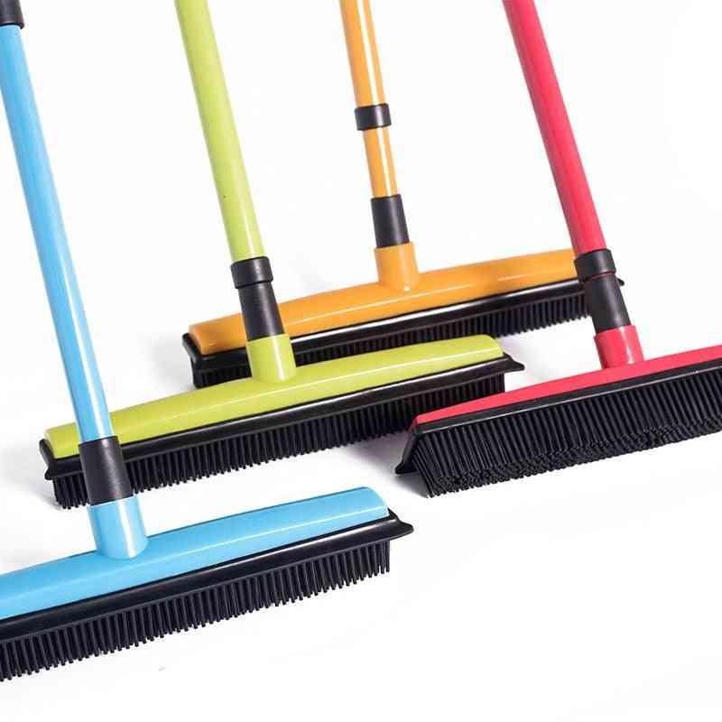 Long Push Rubber Bristles Broom For Pet/ Cat/ Dog/ Hair Carpet