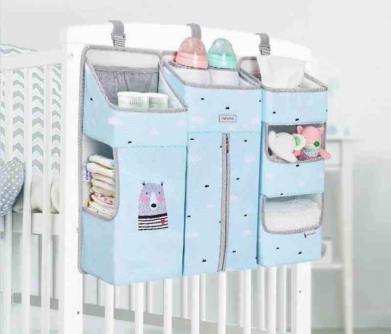 Portable Baby Crib Organizer Bed Hanging Bag, Essentials Diaper Storage Cradle Bedding Set
