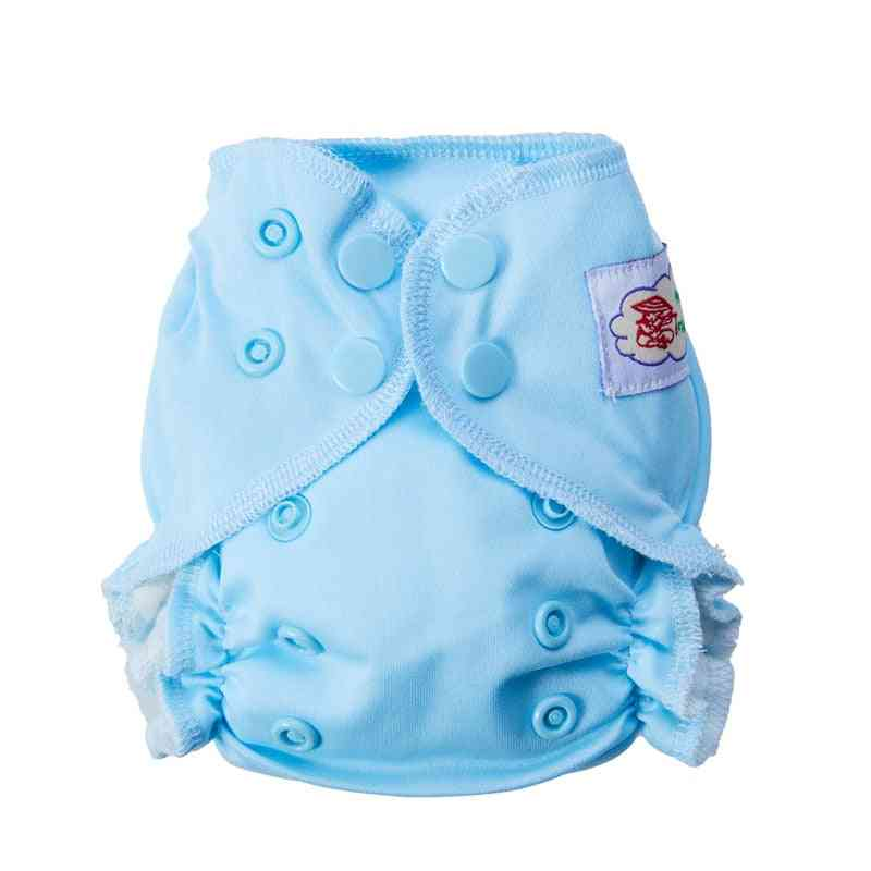 Newborn Tiny Cotton Cloth Diaper, Double Gussets Waterproof