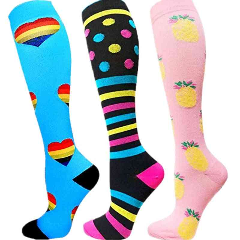 Men & Women Compression Socks Fit For Golf Rugby Sports Anti Fatigue Pain Relief Knee Stockings