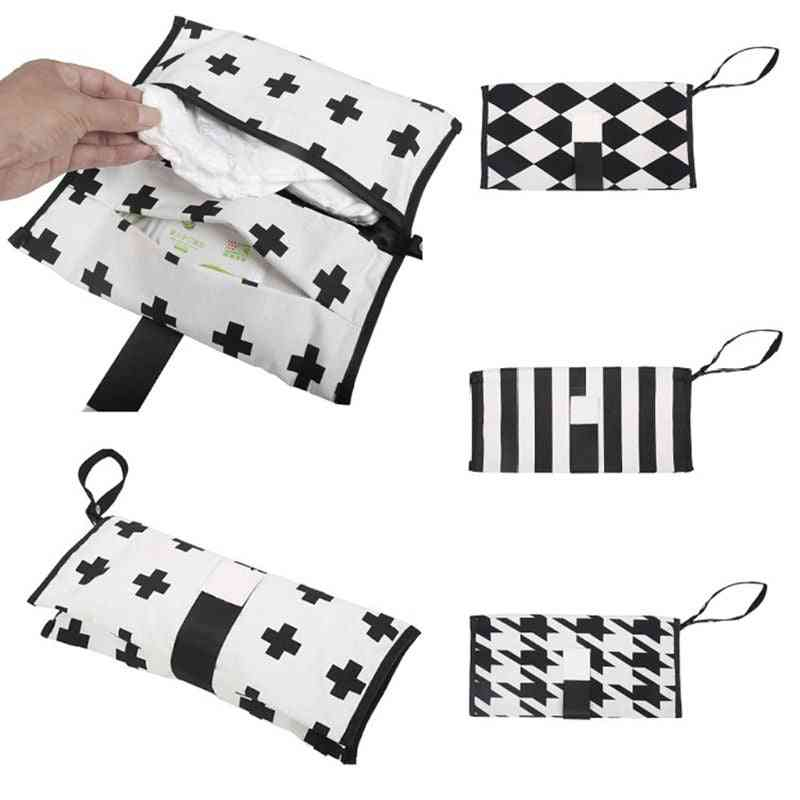 Baby Diapers Bag, Striped Print Waterproof Nappy Pouch