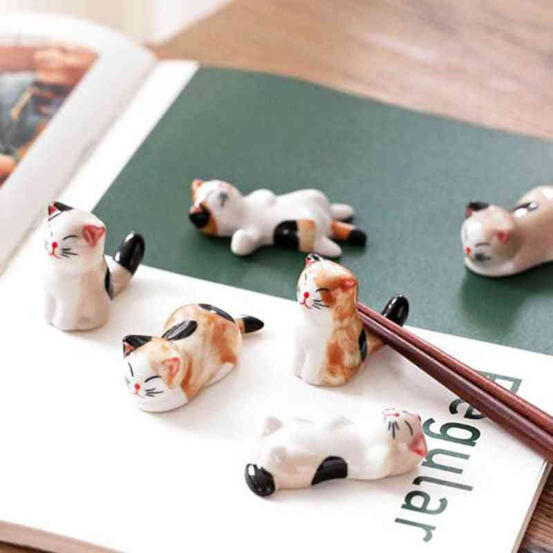Cute Cat Shape Ceramic Chopsticks Holder